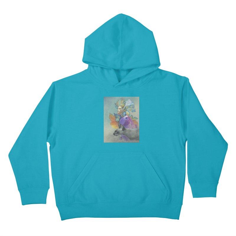 Girl Kat Fish Kids Pullover Hoody by Draw Juice Custom Art Prints