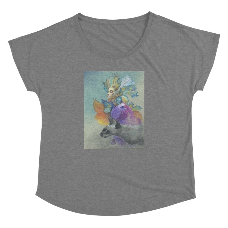 Girl Kat Fish Women's Dolman Scoop Neck by Draw Juice Custom Art Prints