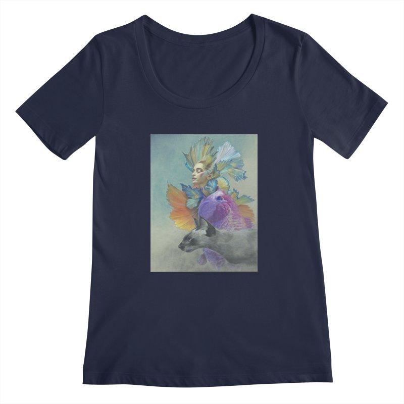 Girl Kat Fish Women's Regular Scoop Neck by Draw Juice Custom Art Prints