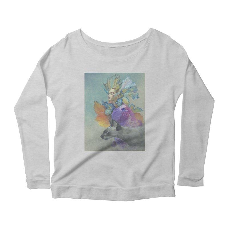 Girl Kat Fish Women's Scoop Neck Longsleeve T-Shirt by Draw Juice Custom Art Prints
