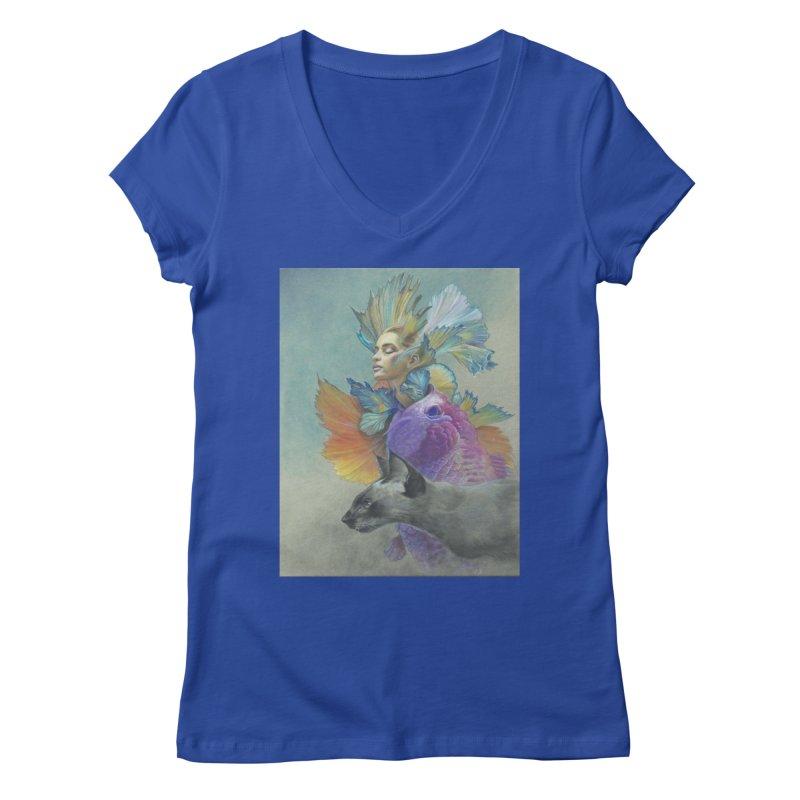 Girl Kat Fish Women's Regular V-Neck by Draw Juice Custom Art Prints