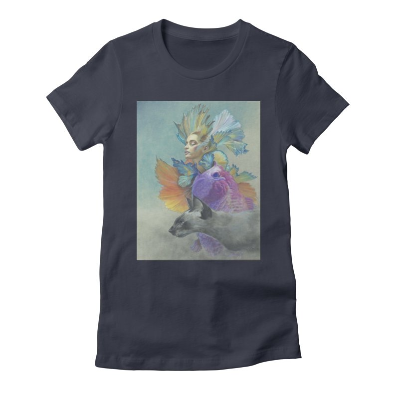 Girl Kat Fish Women's Fitted T-Shirt by Draw Juice Custom Art Prints