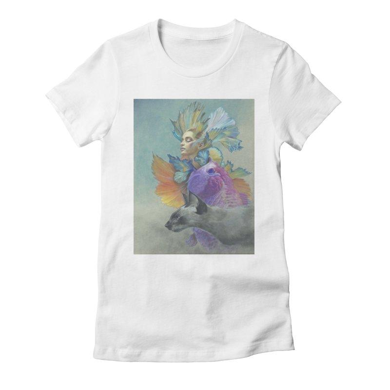 Girl Kat Fish Women's Fitted T-Shirt by Draw Juice Custom Art Prints