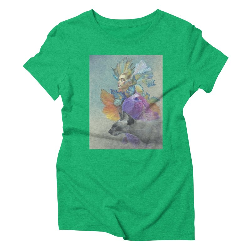 Girl Kat Fish Women's Triblend T-Shirt by Draw Juice Custom Art Prints