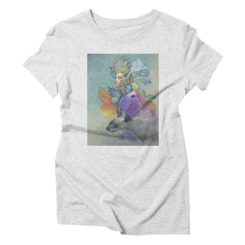 Girl Kat Fish Women's Triblend T-Shirt by Draw Juice Custom Art Prints
