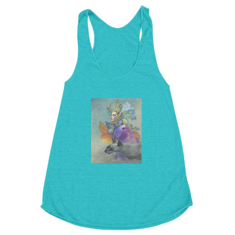 Girl Kat Fish Women's Racerback Triblend Tank by Draw Juice Custom Art Prints