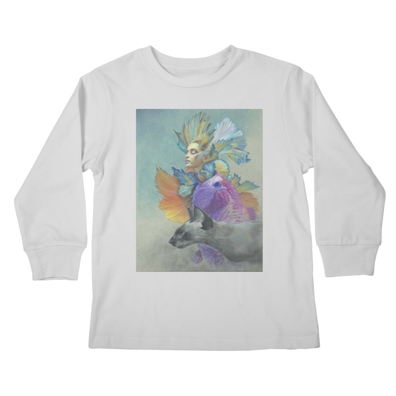 Girl Kat Fish Kids Longsleeve T-Shirt by Draw Juice Custom Art Prints
