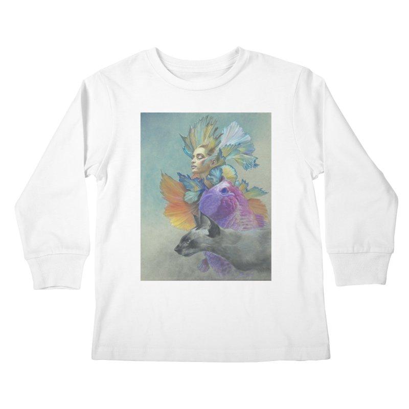 Girl Kat Fish Kids Longsleeve T-Shirt by Draw Juice Custom Art Prints