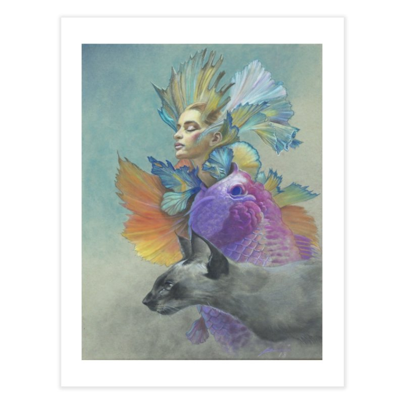Girl Kat Fish Home Fine Art Print by Draw Juice Custom Art Prints