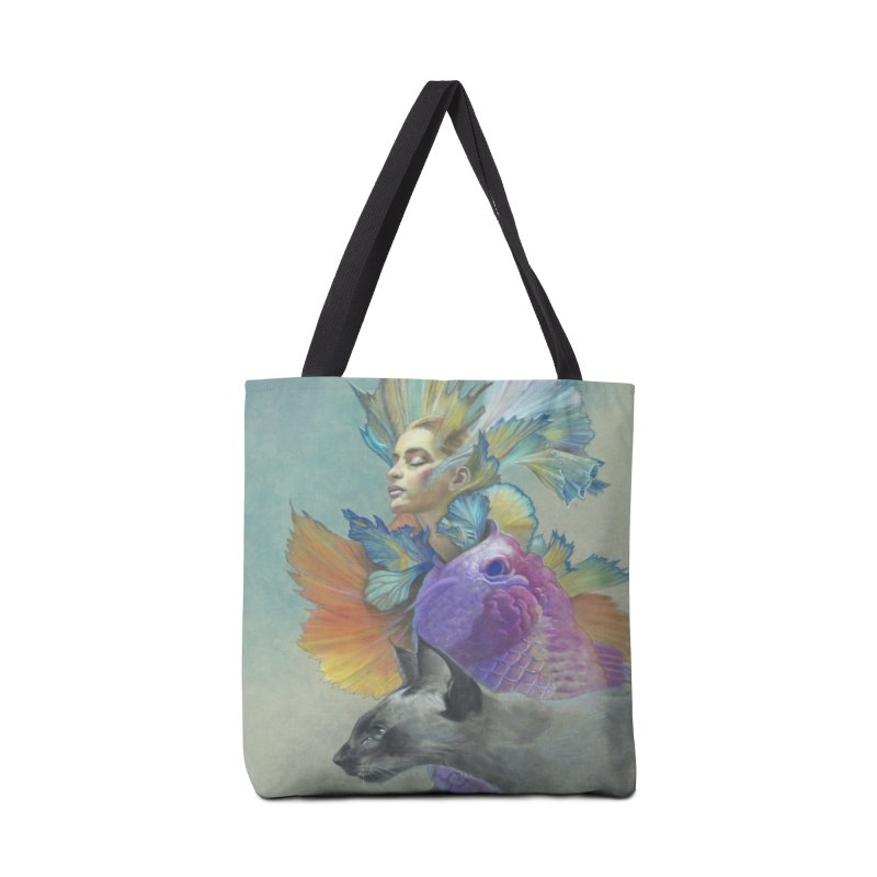 Girl Kat Fish Accessories Tote Bag Bag by Draw Juice Custom Art Prints