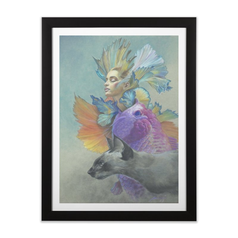Girl Kat Fish Home Framed Fine Art Print by Draw Juice Custom Art Prints