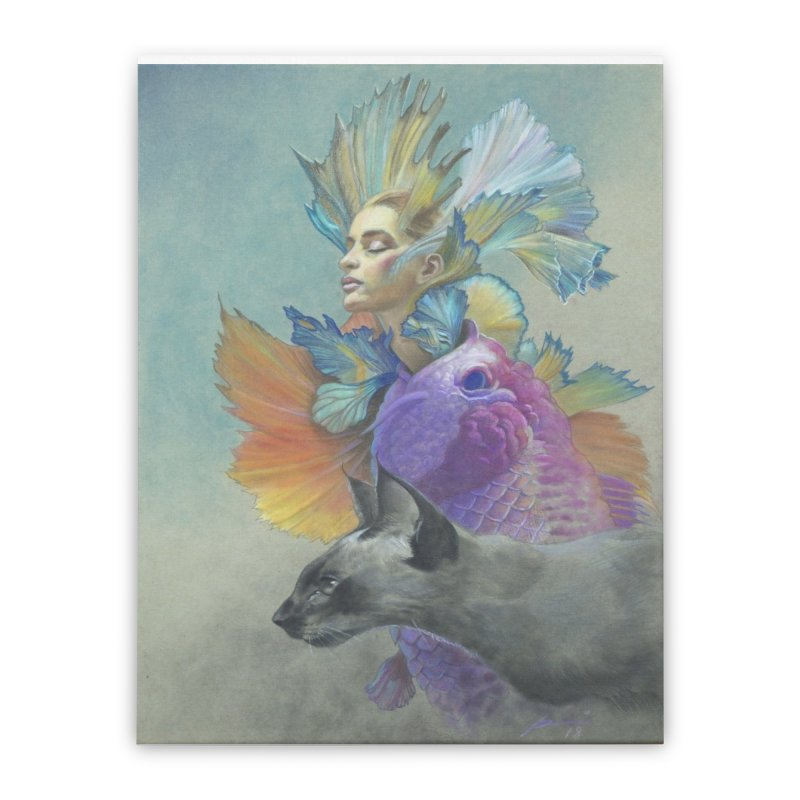 Girl Kat Fish Home Stretched Canvas by Draw Juice Custom Art Prints