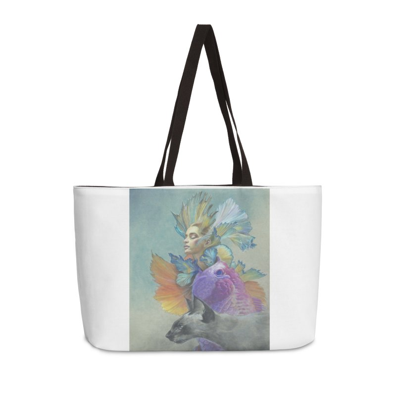 Girl Kat Fish Accessories Weekender Bag Bag by Draw Juice Custom Art Prints