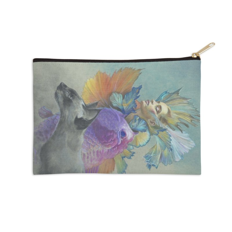 Girl Kat Fish Accessories Zip Pouch by Draw Juice Custom Art Prints