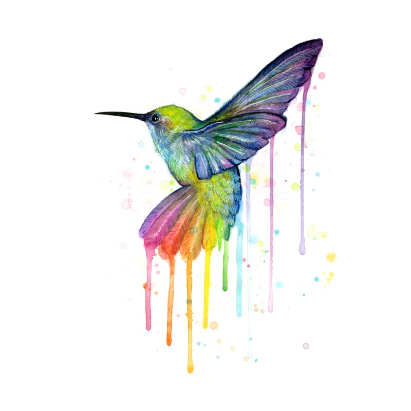 Rainbow Hummingbird Kids T-Shirt by Art by Olga Shvartsur