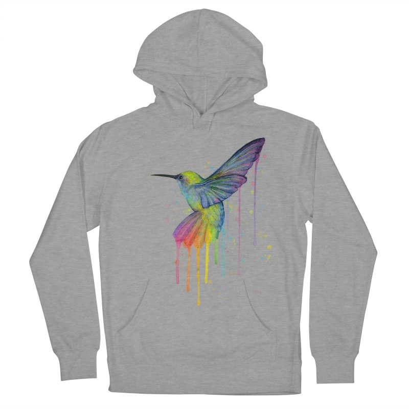 Rainbow Hummingbird Men's French Terry Pullover Hoody by Art by Olga Shvartsur