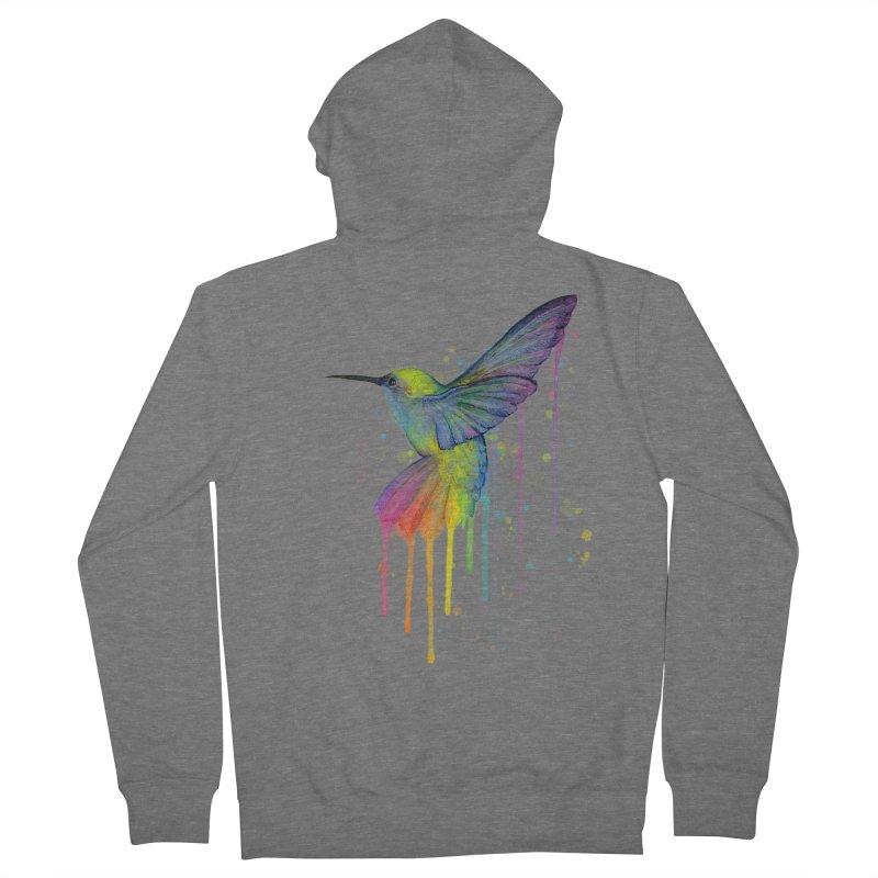 Rainbow Hummingbird Men's Zip-Up Hoody by Art by Olga Shvartsur