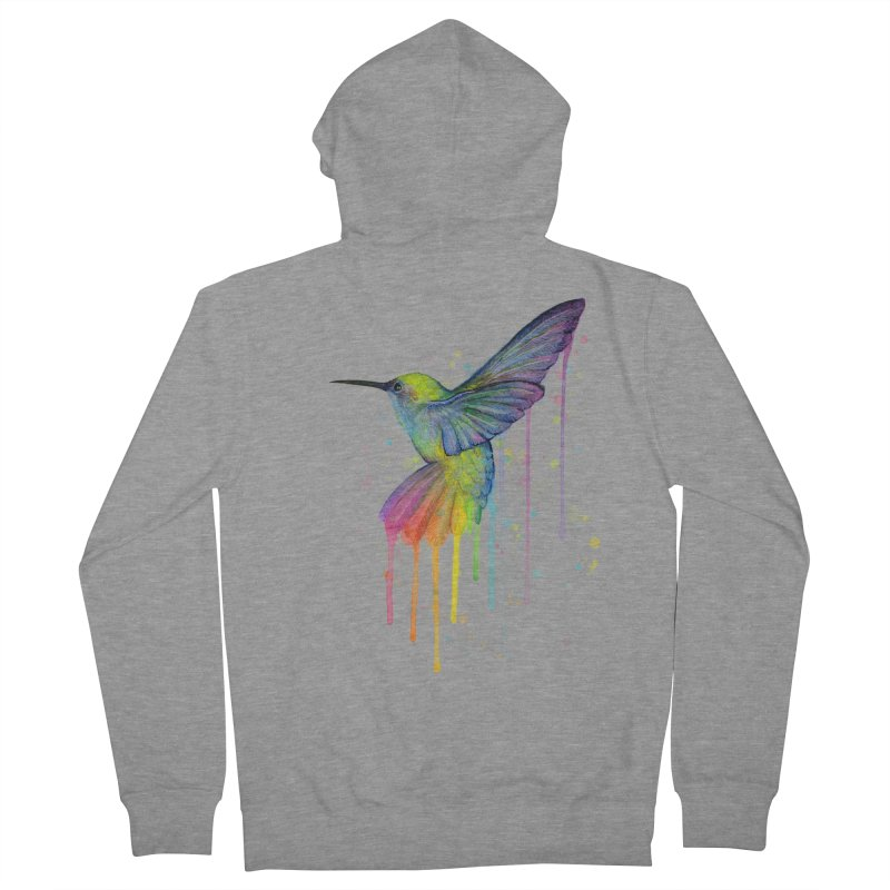 Rainbow Hummingbird Men's Zip-Up Hoody by Art by Olga Shvartsur