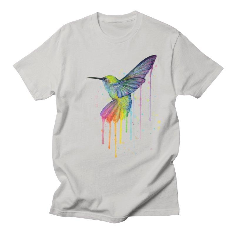 Rainbow Hummingbird Men's Regular T-Shirt by Art by Olga Shvartsur