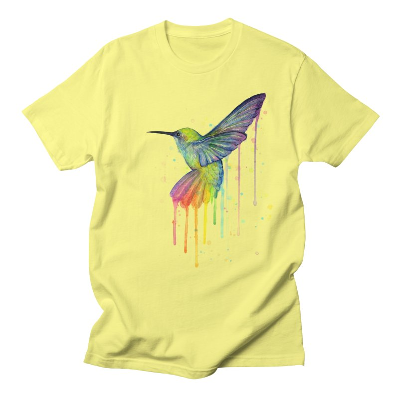 Rainbow Hummingbird Men's T-Shirt by Art by Olga Shvartsur