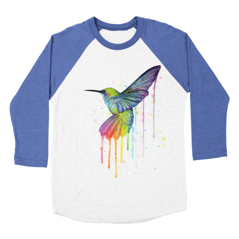 Rainbow Hummingbird Women's Baseball Triblend Longsleeve T-Shirt by Art by Olga Shvartsur