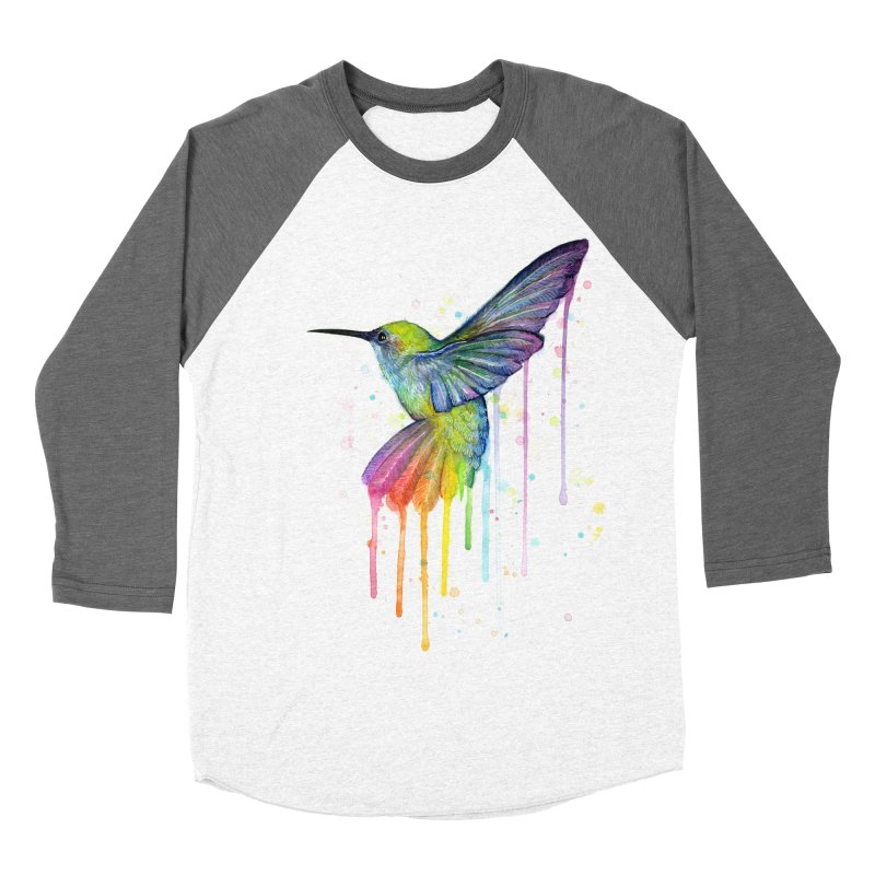 Rainbow Hummingbird Men's Baseball Triblend T-Shirt by Art by Olga Shvartsur