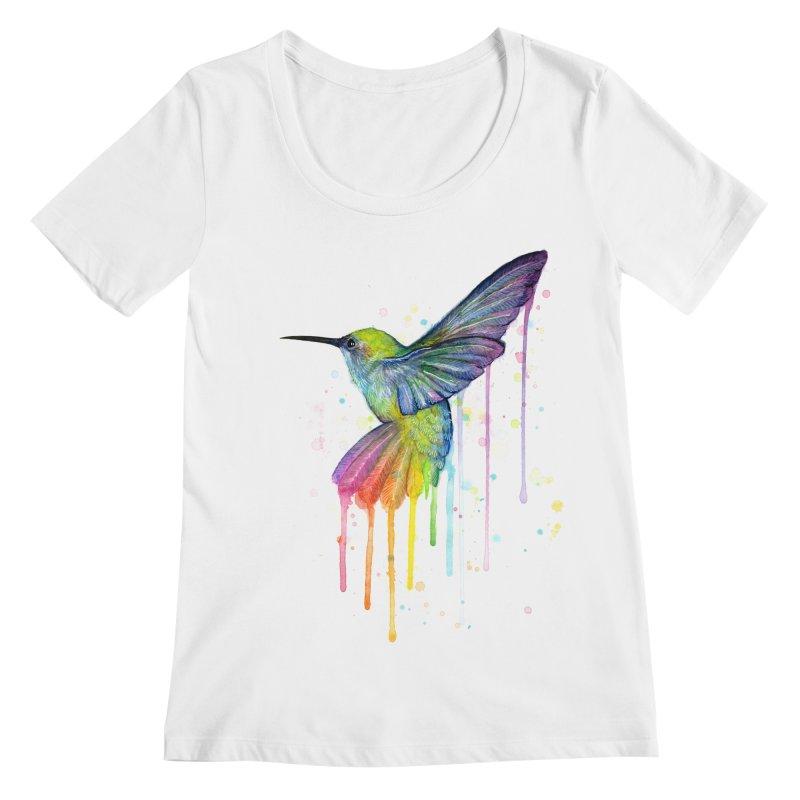 Rainbow Hummingbird Women's Regular Scoop Neck by Art by Olga Shvartsur