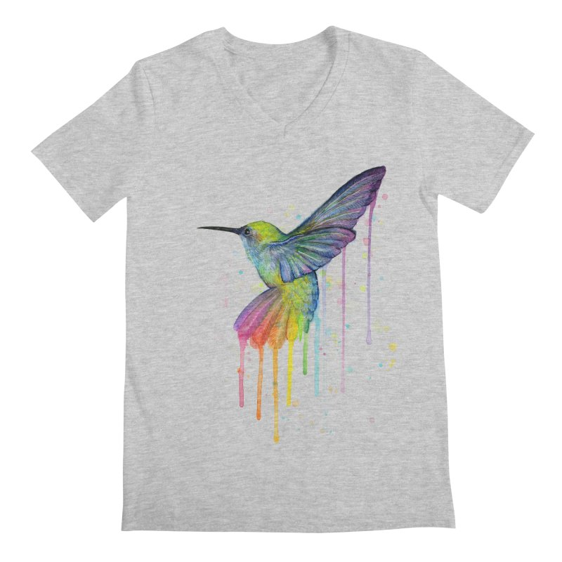 Rainbow Hummingbird Men's V-Neck by Art by Olga Shvartsur