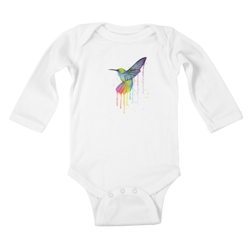Rainbow Hummingbird Kids Baby Longsleeve Bodysuit by Art by Olga Shvartsur