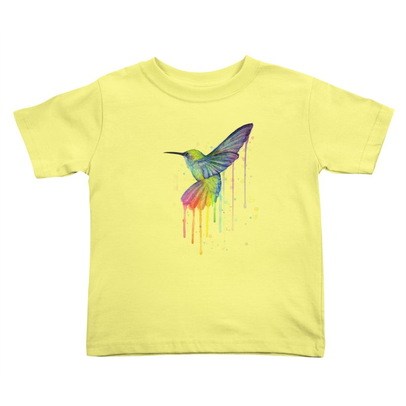 Rainbow Hummingbird Kids Toddler T-Shirt by Art by Olga Shvartsur