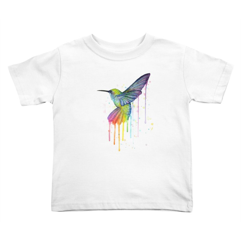 Rainbow Hummingbird Kids Toddler T-Shirt by Art by Olga Shvartsur