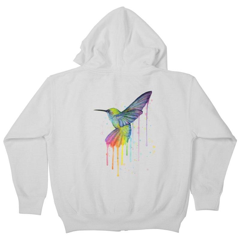 Rainbow Hummingbird Kids Zip-Up Hoody by Art by Olga Shvartsur