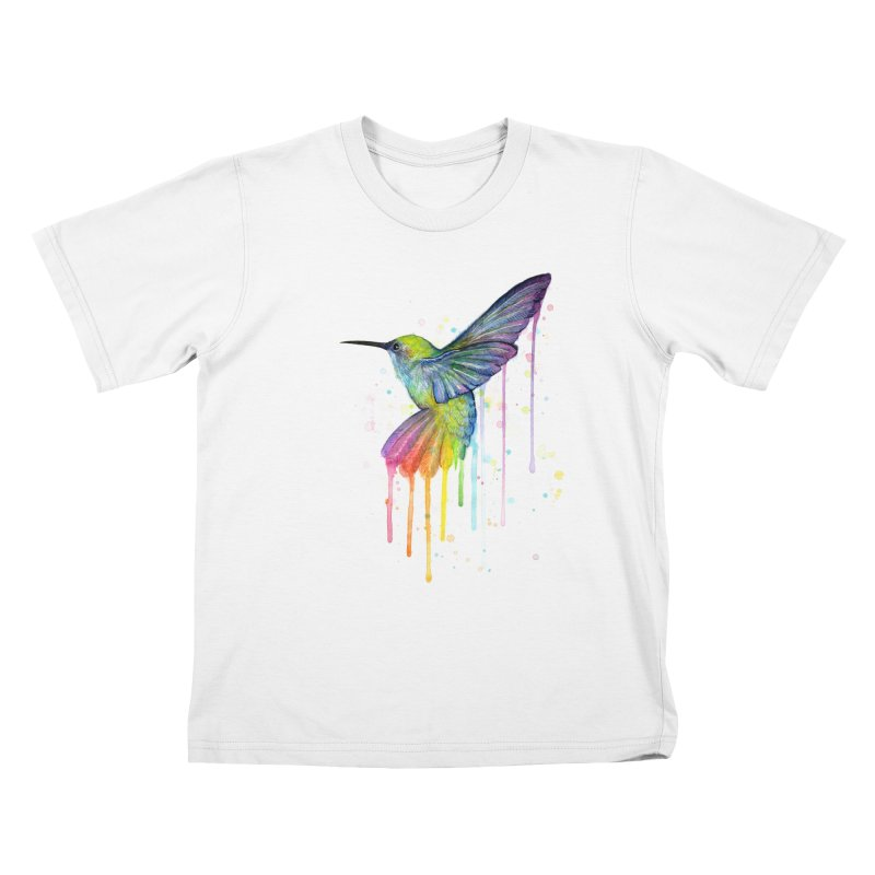 Rainbow Hummingbird Kids T-Shirt by Art by Olga Shvartsur