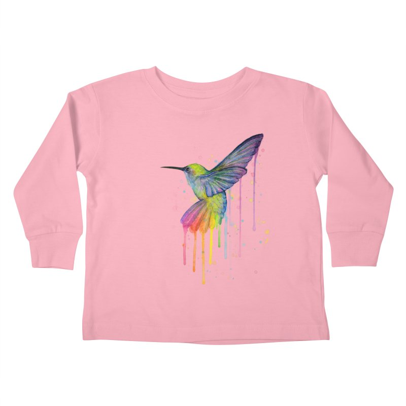 Rainbow Hummingbird Kids Toddler Longsleeve T-Shirt by Art by Olga Shvartsur