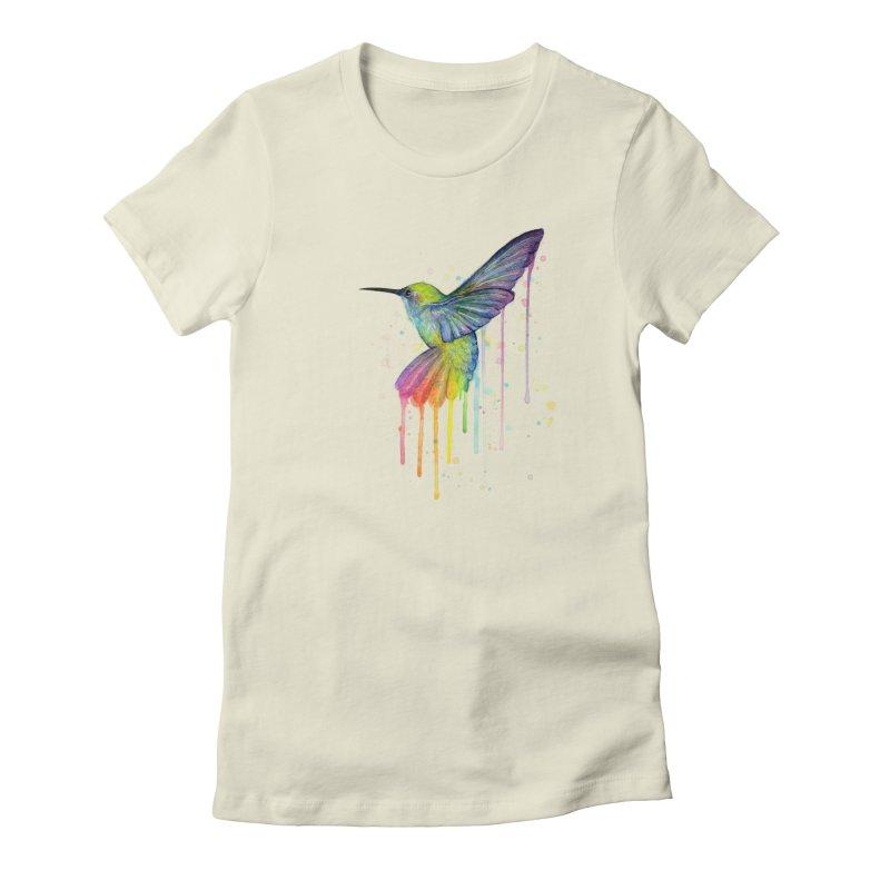 Rainbow Hummingbird Women's T-Shirt by Art by Olga Shvartsur