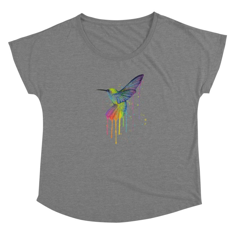 Rainbow Hummingbird Women's Dolman Scoop Neck by Art by Olga Shvartsur