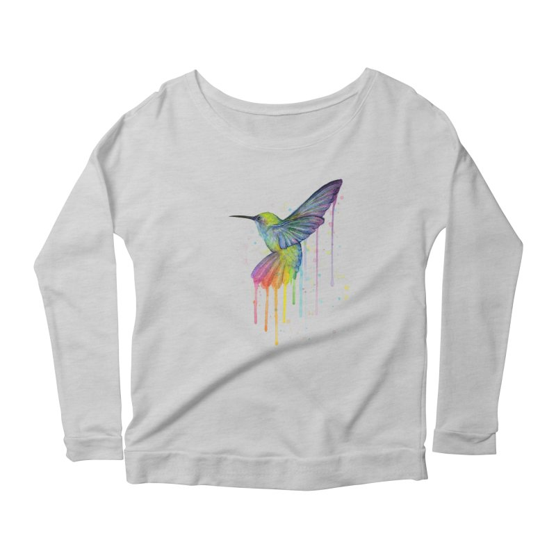 Rainbow Hummingbird Women's Scoop Neck Longsleeve T-Shirt by Art by Olga Shvartsur