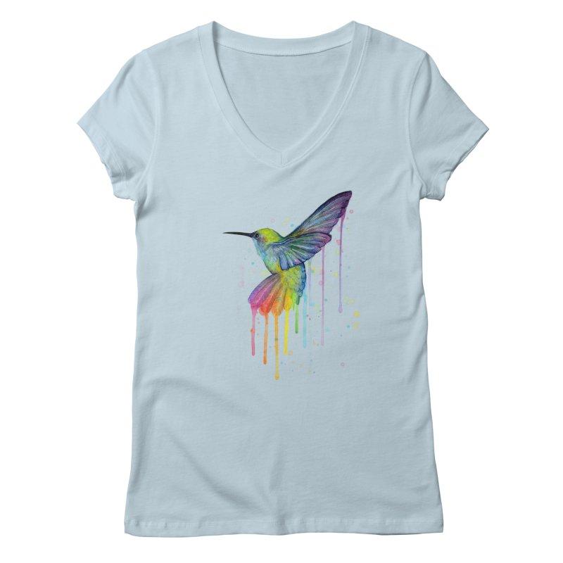 Rainbow Hummingbird Women's Regular V-Neck by Art by Olga Shvartsur