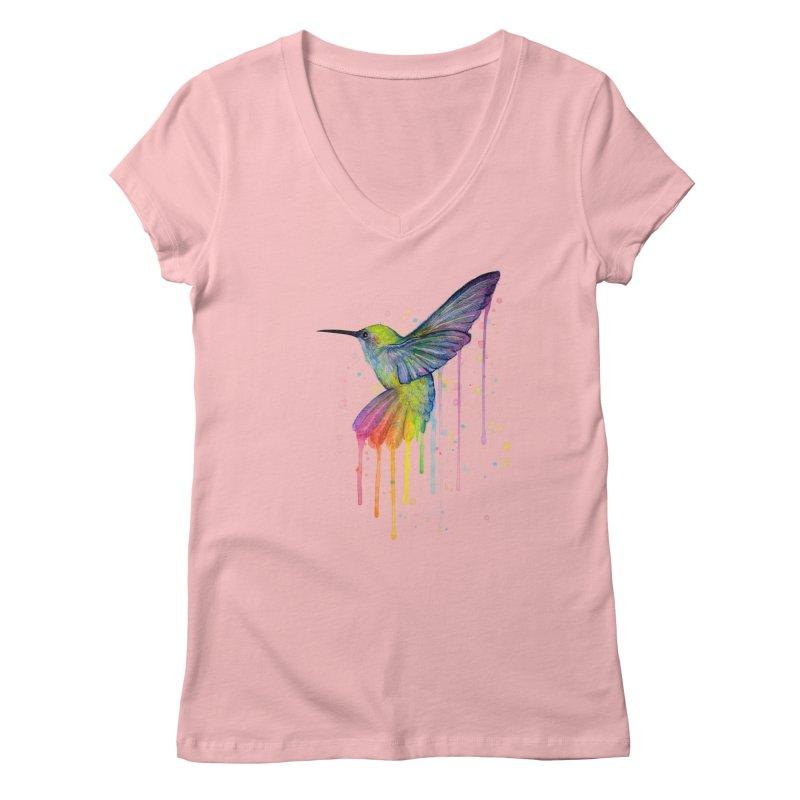 Rainbow Hummingbird Women's V-Neck by Art by Olga Shvartsur