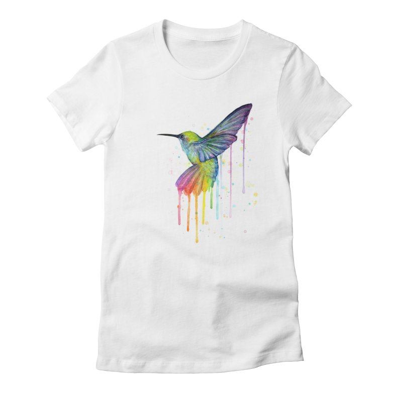 Rainbow Hummingbird Women's Fitted T-Shirt by Art by Olga Shvartsur