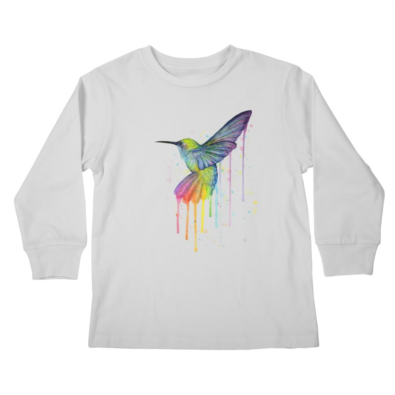 Rainbow Hummingbird Kids Longsleeve T-Shirt by Art by Olga Shvartsur