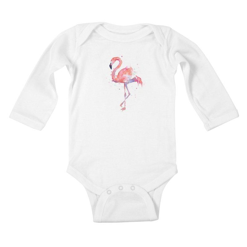 Flamingo Kids Baby Longsleeve Bodysuit by Art by Olga Shvartsur