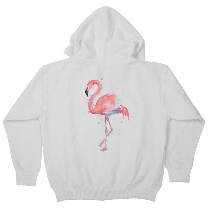 Flamingo Kids Zip-Up Hoody by Art by Olga Shvartsur