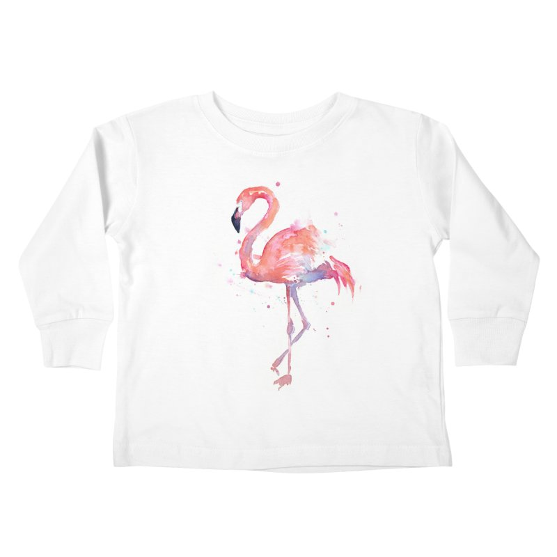 Flamingo Kids Toddler Longsleeve T-Shirt by Art by Olga Shvartsur