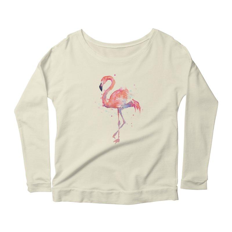 Flamingo Women's Longsleeve Scoopneck  by Art by Olga Shvartsur