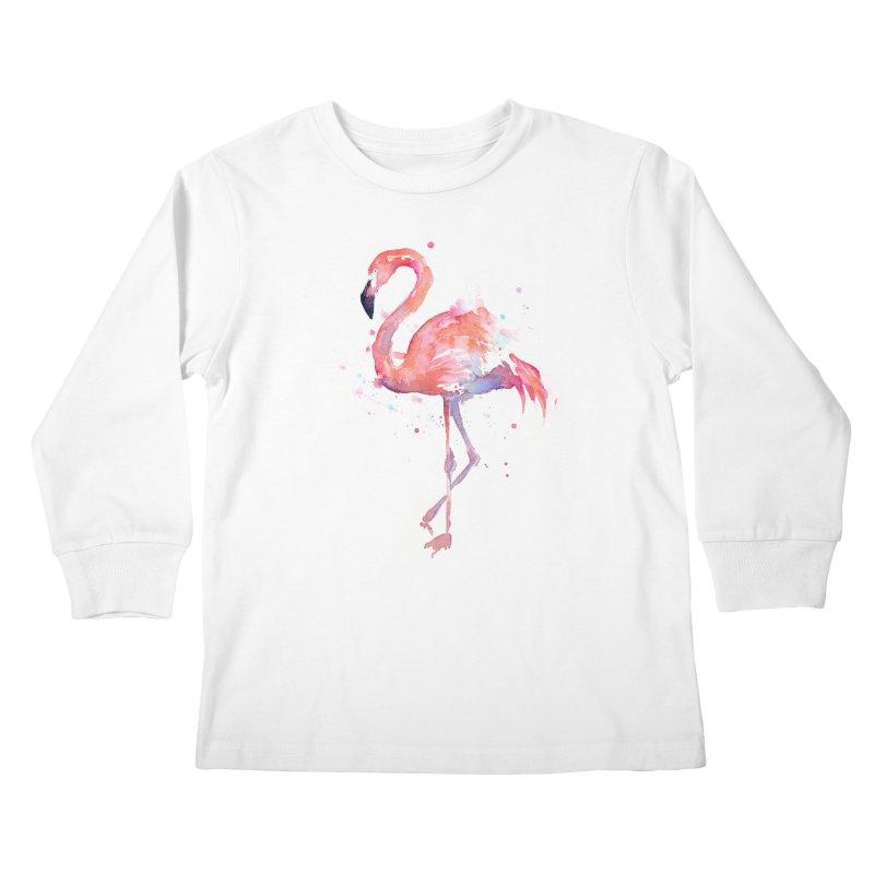 Flamingo Kids Longsleeve T-Shirt by Art by Olga Shvartsur