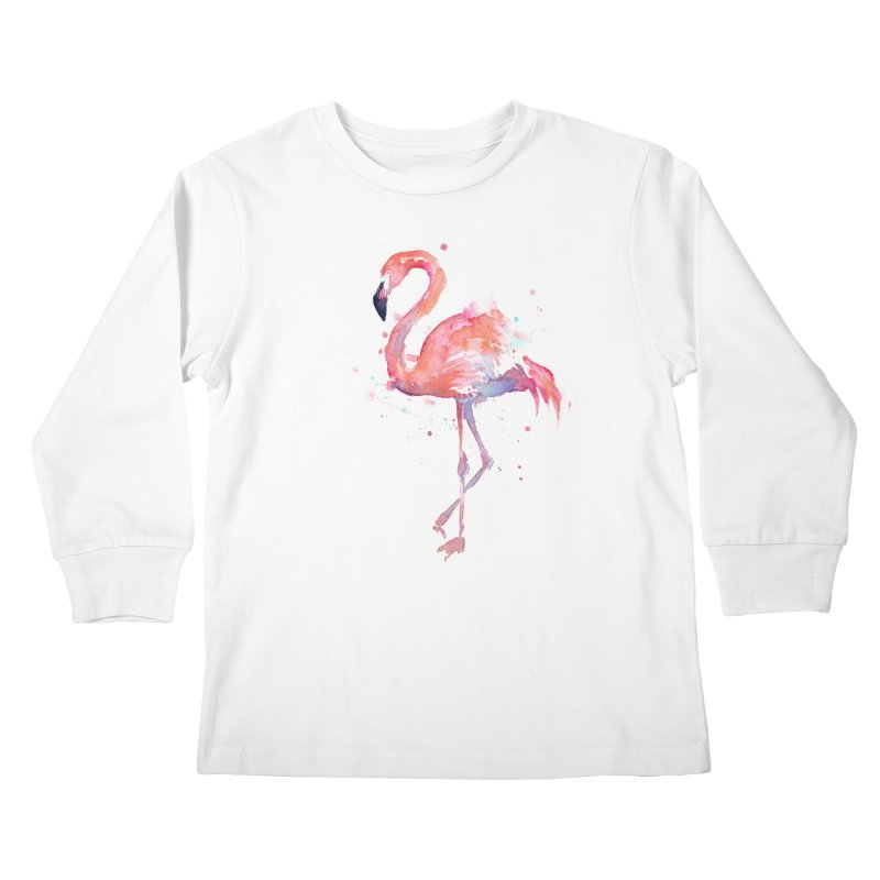 Flamingo Kids Longsleeve T-Shirt by Art by Olga Shvartsur
