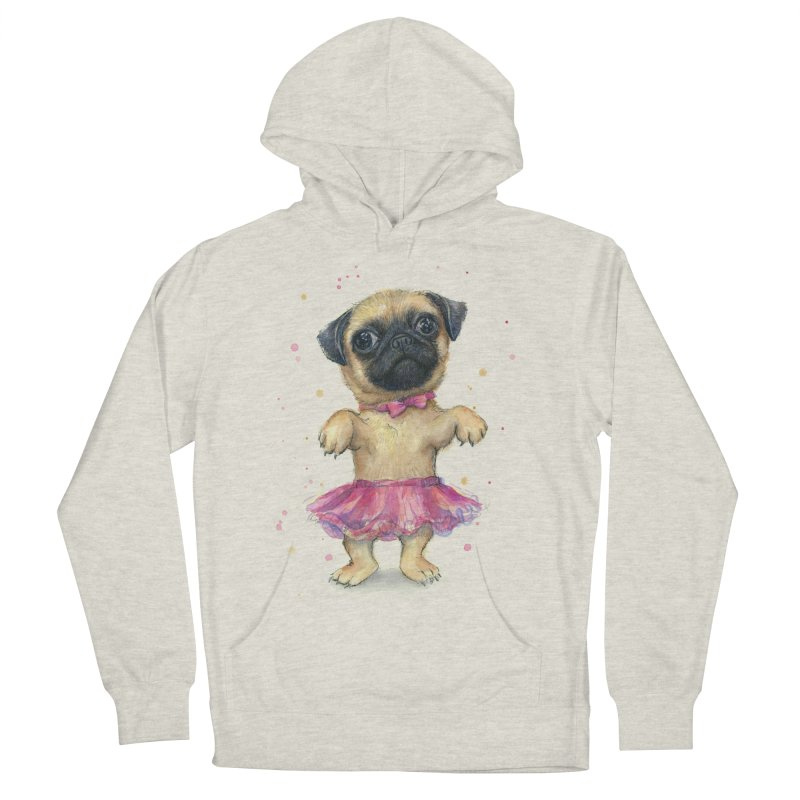 Pug in a Tutu Men's French Terry Pullover Hoody by Art by Olga Shvartsur