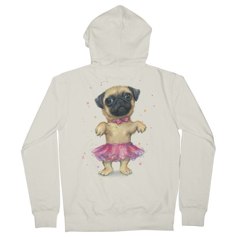 Pug in a Tutu Men's French Terry Zip-Up Hoody by Art by Olga Shvartsur