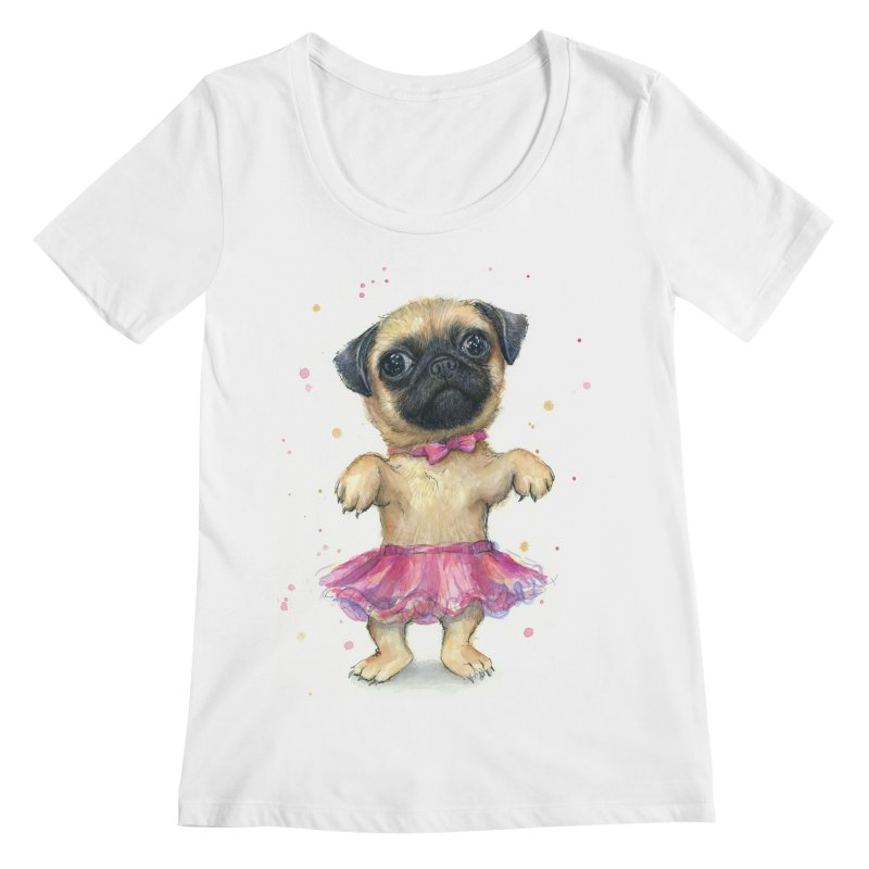 Pug in a Tutu Women's Regular Scoop Neck by Art by Olga Shvartsur
